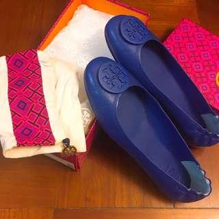 全新 Tory Burch 藍色全皮平底鞋