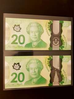 2 different watermark $20 canada banknotes