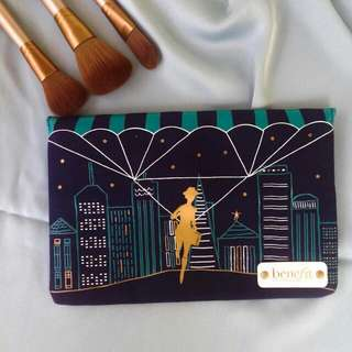 Rare Benefit Night Life Makeup Cosmetics Pouch Navy Denim Clutch with Magnetic Clasp