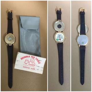 Sanrio Minna No Tabo 大口仔 1989 年 有蓋及錶面公仔會隨時間轉動手錶 (Made in Japan) (** 29 年曆史~ 運作不能確定是否正常~ 只係收藏 **)