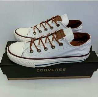 Converse low white brown rope