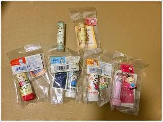 Sanrio Minna No Tabo 大口仔 1997, 1998, 1999 & 2005 年 指甲鉗 4 個 + 1996, 1998 潤唇膏 2 支 (Made in Japan) 全新未用過