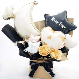 Love You to the Moon and back Desktop Mini Balloon Bouquet
