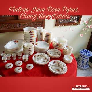 Lovely Vintage Gold-Rim Red & Yellow Flower PYREX (by Chang Hee Korea) Dishes, Bowls, Spoons and Wine Cups. Rarely comes in such Unused Pristine Condition and Family Lotsize detail below.  All 110pcs for $218 Clearance offer! $ Sms 96337309 for fast deal.