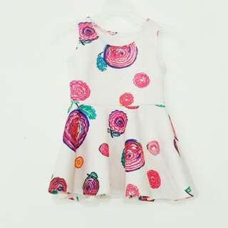Printed Sleeveless dress in White for little girls
