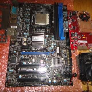 出售MSI 770-C45主機版 送AMD 425 三核心CPU及HD4650 顯示卡