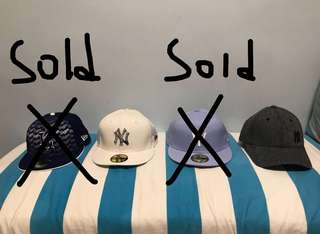 New era cap 帽 x 2  ,可分開買, Number 1 & 3 100% new, Number 2 & 4 90% new. (From left to right)