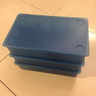 IKEA used blue color storage box with compartment x3