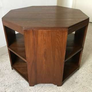 Vintage Art Deco Burmese Teak Wood Octagon Coffee Table