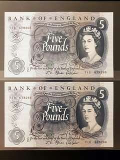 Bank of England 5 Pounds Paper Note 1963-71 UNC
