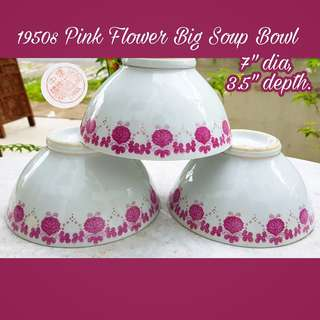 1950s Vintage Large Soup Porcelain Bowls with Pink Flowers Motifs & Gold Rims. Unused, Good Condition no chip no crack. All 3pcs for $18 offer, sms 96337309 for fast deal.