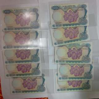10 Pieces Singapore $50 Orchid Note Special Offer