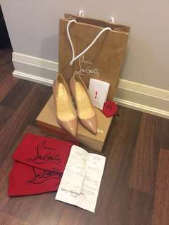 Brand New Christian Louboutin Patent Nude Size37.5