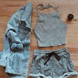 Crop top grey stripes