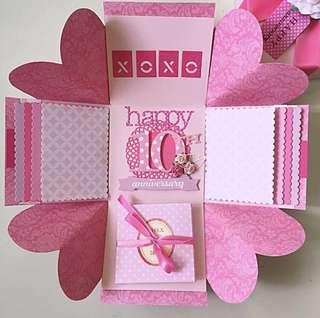Happy 10th Anniversary Explosion Box Card