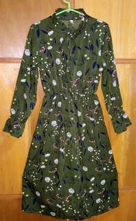 Dark green vintage high-neck long dress