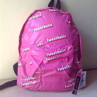 Tweetaholic pink backpack cute bag kawaii