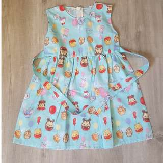 Brand New Handmade Premium Tie Back Ribbon Dress –  Tsum Tsum Disney Print