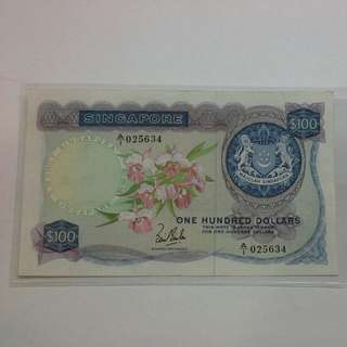 Singapore $100 Orchid Note A/1