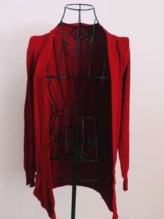 Deep red cardigan
