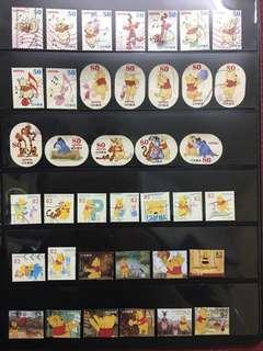日本小熊維尼信銷郵票(已使用)