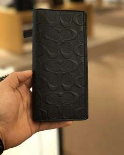 Coach Breast Pocket Wallet in Signature Crossgrain Leather in Black