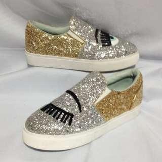 Authentic CHIARA FERRAGNI Glitter Slip-On Size 39