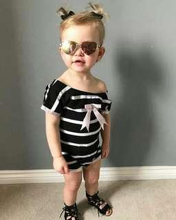 🍀Newborn Baby Girl Off Shouler Striped Romper🍀