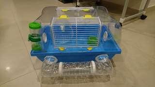 Large Savic Dwarf Hamster Cage in Good Condition with Wheel, Bottle and Food Bowl