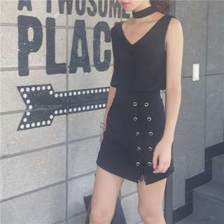 Black Lace Up Skirt