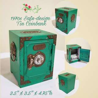 1970s Cute Little Metal Number-Lock Coinbank (for children) in the shape of Safe. Good Quality type with thick walls and drawer. Good Condition, no chip no crack. $25 Clearance offer, sms 96337309 for fast deal.