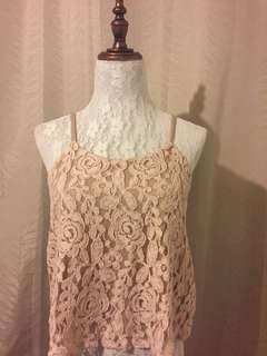 PINK LACE TOP WITH FLORAL EMBROIDERY