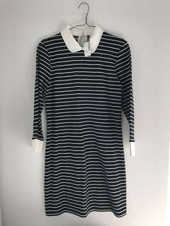 BNWT Simons striped collared dress - L