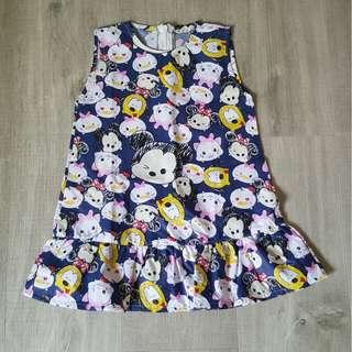 Brand New Handmade Premium Ruffles Bottom Dress –  Tsum Tsum Print