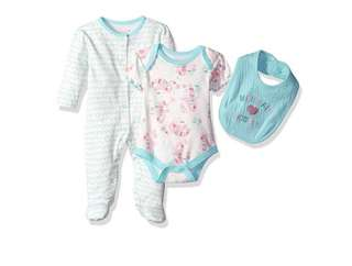 SALE 50% Off - 0-3 Mths BNWT Authentic Rene Rofe baby girls 3pc set (sleepsuit, bodysuit, bib)