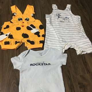 Preloved baby boy overall and romper