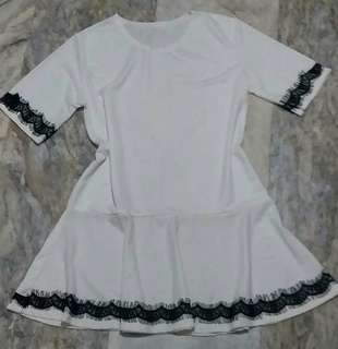 Offwhite peplum dress with lace