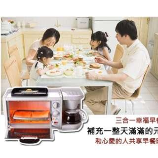 美寧-三合一幸福早餐機(白色) 三機一體,咖啡、烤土司、煎煮一次搞定,再也不用手忙腳亂