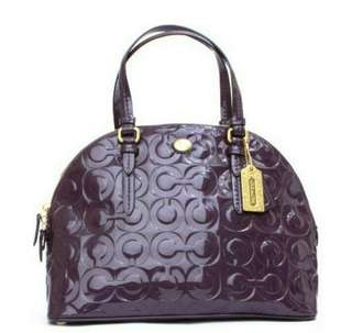 $348 Authentic Coach Peyton Op Art Embossed Patent Cora Domed F25705 Purple