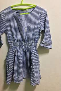 Blue K-dress with white vertical stripes