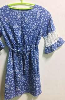 Blue dress with floral design