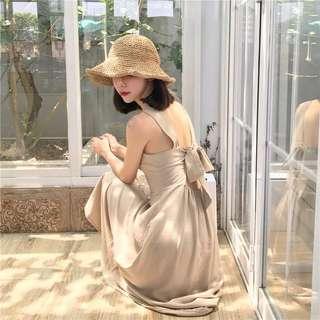 港味chic復古韓國露背設計度假綁帶中長款單排扣仙女吊帶連衣裙潮