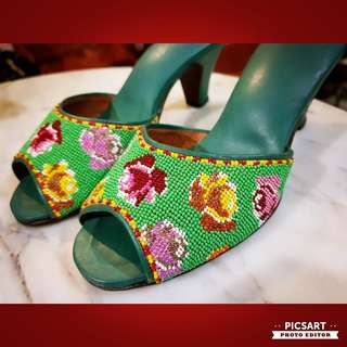 1950s Super-Micro Beads Beaded shoes or Peranakan Potong Manek. Leather material. Size 2, only 6 inches. Most modern ladies now cannot fit in such small size. Mint Condition, probably worn once. $300 Clearance offer, sms 96337309 for fast deal.