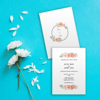 Roses and Peonies Wedding Invitation Cards