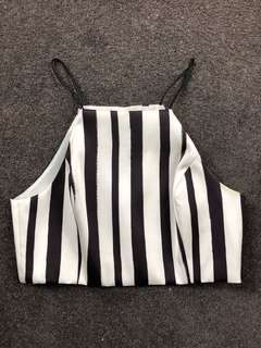 TopShop striped crop top with open back