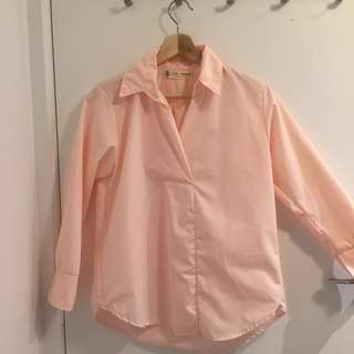 Pink collar long sleeve top