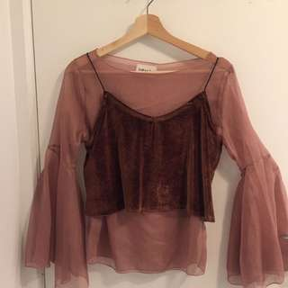 Camisole over flowy blouse