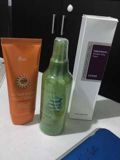 Korean skin care cosrx galactomyces toner, ekel sunblock spf50 and nature republic aloe vera gel mist