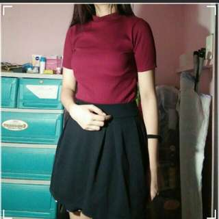 Maroon turtle neck top and skirt