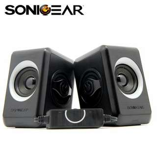 (Free Shipping) Sonic Gear Quatro 2 2.0 Speaker System USB Powered Quad Bass Cool Grey